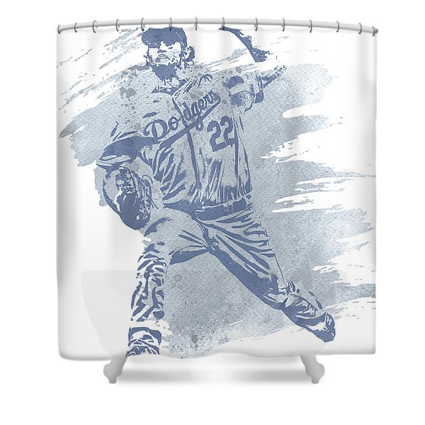 Clayton Kershaw Los Angeles Dodgers Water Color Art 1 Shower Curtain