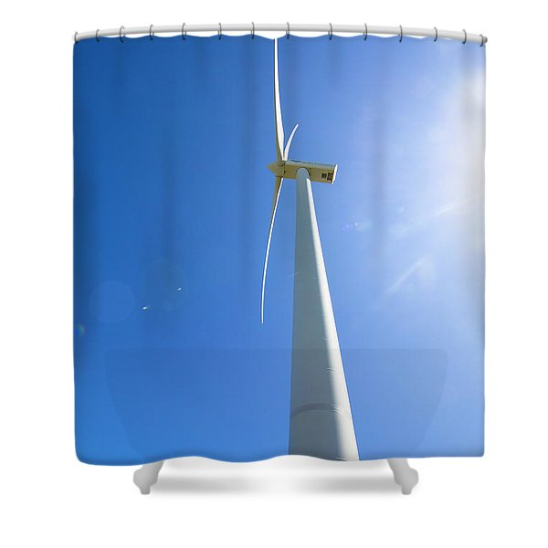 Clean Blue Energy Shower Curtain