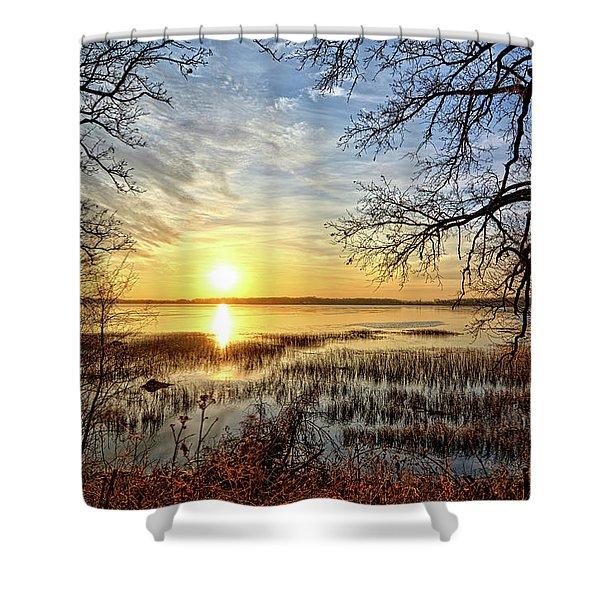 Clear Lake Sunrise 3 Shower Curtain