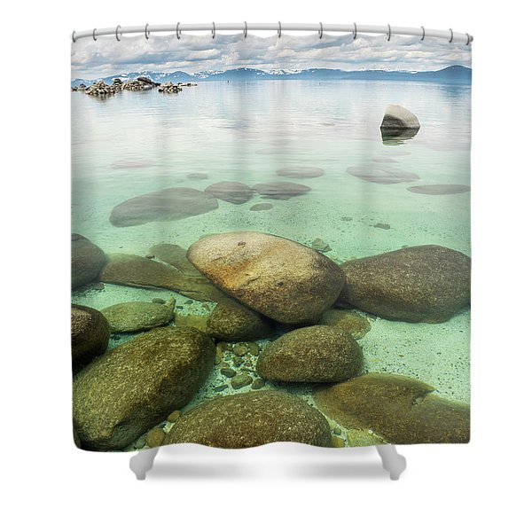 Clear Water, Stormy Sky Shower Curtain