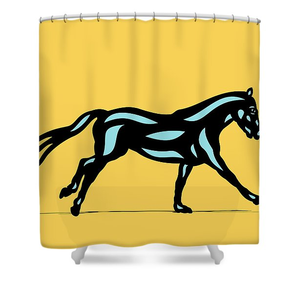 Clementine - Pop Art Horse - Black, Island Paradise Blue, Primrose Yellow Shower Curtain