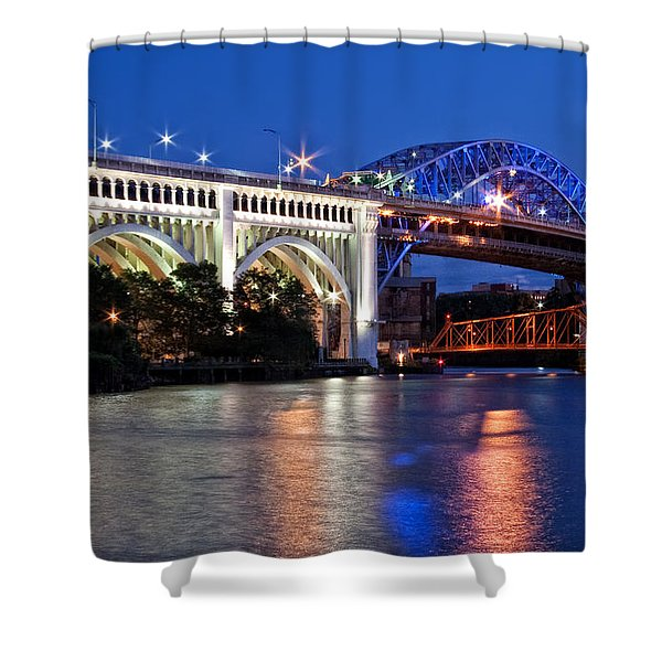 Cleveland Colored Bridges Shower Curtain