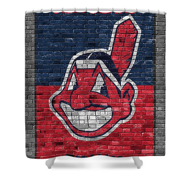 Cleveland Indians Brick Wall Shower Curtain