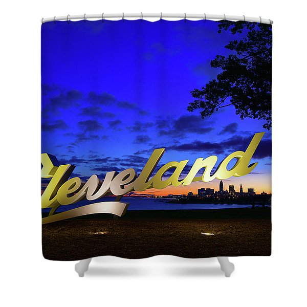 Cleveland Sign Sunrise Shower Curtain