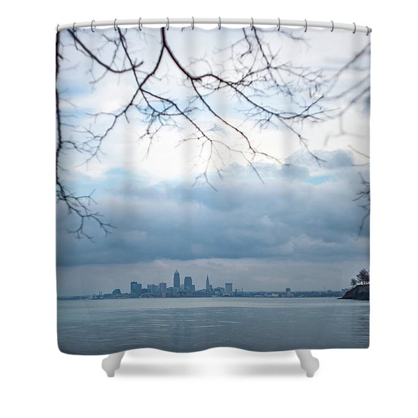 Cleveland Skyline With A Vintage Lens Shower Curtain