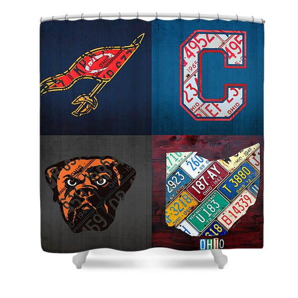 Cleveland Sports Fan Recycled Vintage Ohio License Plate Art Cavaliers Indians Browns And State Map Shower Curtain