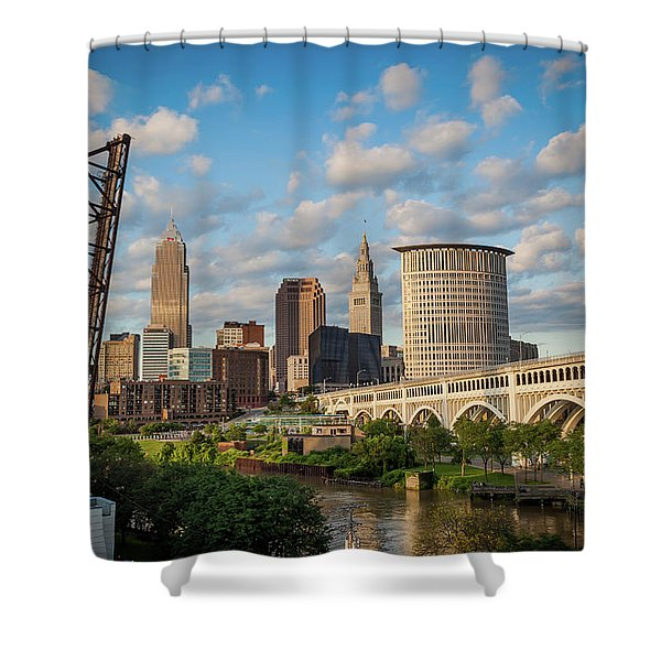 Cleveland Summer Skyline  Shower Curtain