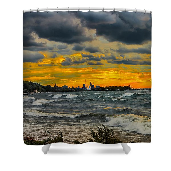 Cleveland Waves Shower Curtain