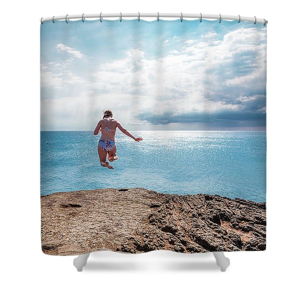 Shower Curtain featuring the photograph Cliff Jumping by Break The Silhouette