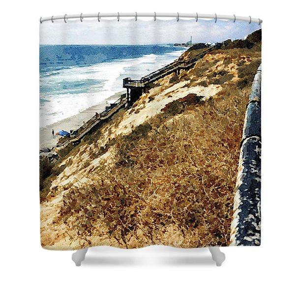 Cliff View - Carlsbad Ponto Beach Shower Curtain