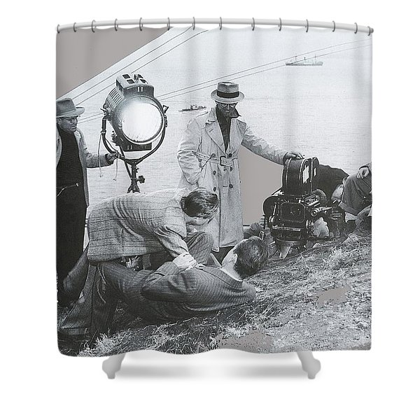 Clifton Young And Bogie Fight To The Death Dark Passage 1947-2016 Shower Curtain