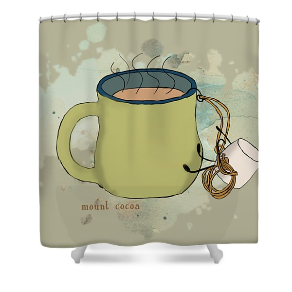 Climbing Mt Cocoa Illustrated Shower Curtain