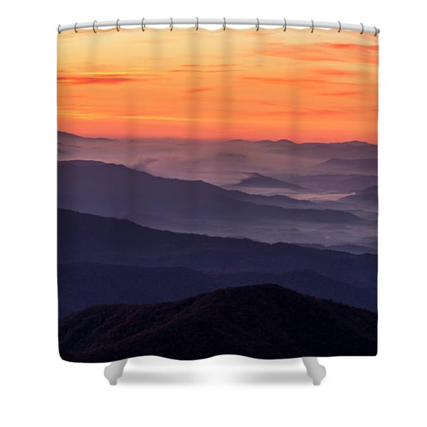 Clingmans Dome Fall Sunrise Shower Curtain