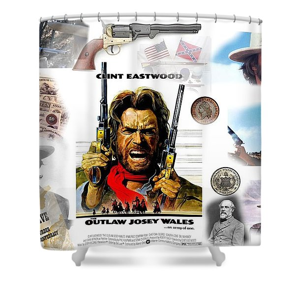Clint Eastwood Old West Collage, Josey Wales Shower Curtain