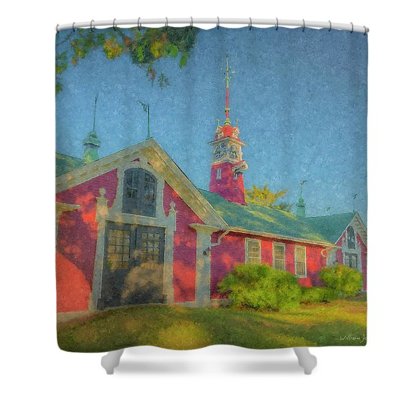 David Ames Clock Farm Shower Curtain