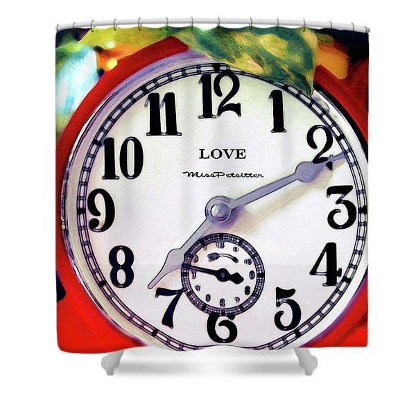 Clock In The Garden  4 Shower Curtain