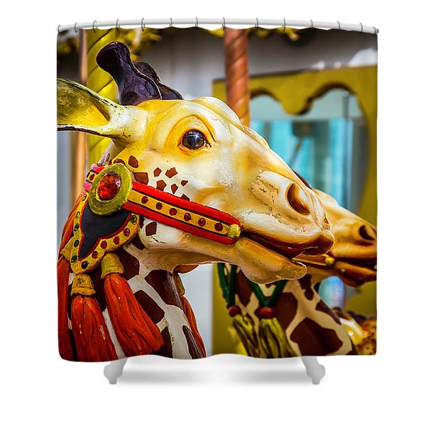 Close Up Giraffe Ride Shower Curtain