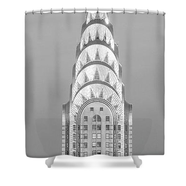 Close Up Of The Chrysler Building At Sunset. It Is The View From 42nd Street And 5th Avenue. Shower Curtain