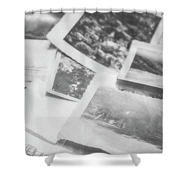 Close Up On Old Black And White Photographs Shower Curtain