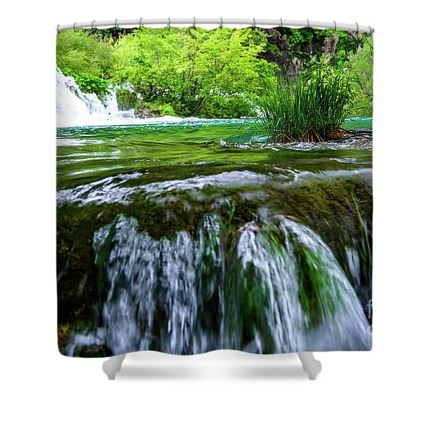 Close Up Waterfalls - Plitvice Lakes National Park, Croatia Shower Curtain