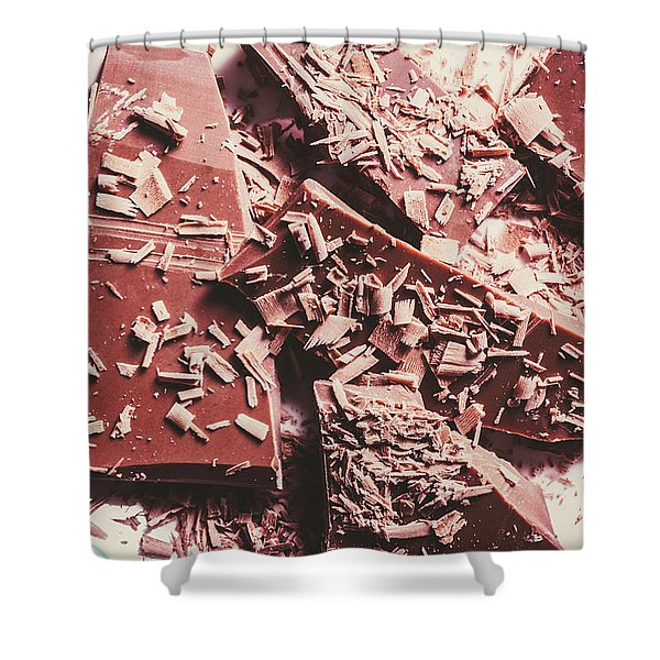 Closeup Of Chocolate Pieces And Shavings On Plate Shower Curtain