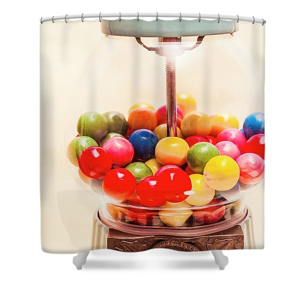Closeup Of Colorful Gumballs In Candy Dispenser Shower Curtain