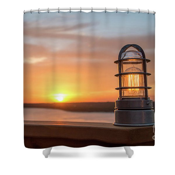 Closeup Of Light With Sunset In The Background Shower Curtain