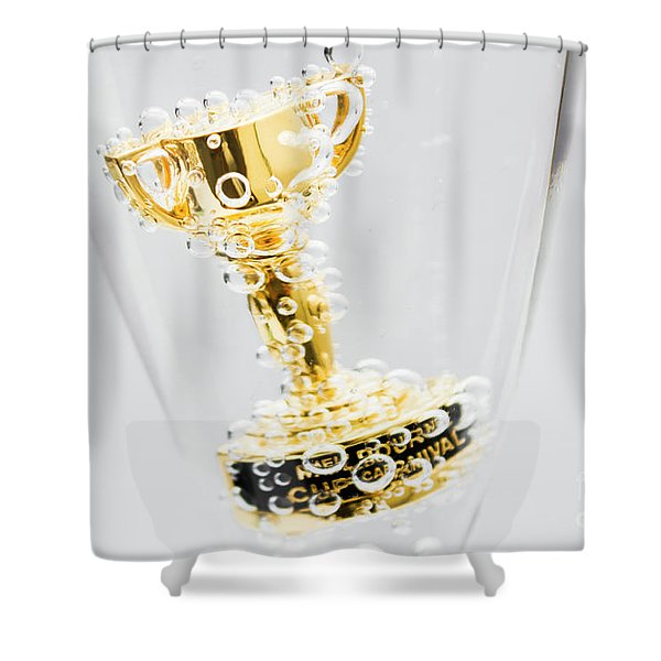 Closeup Of Small Trophy In Champagne Flute. Gold Colored Award I Shower Curtain