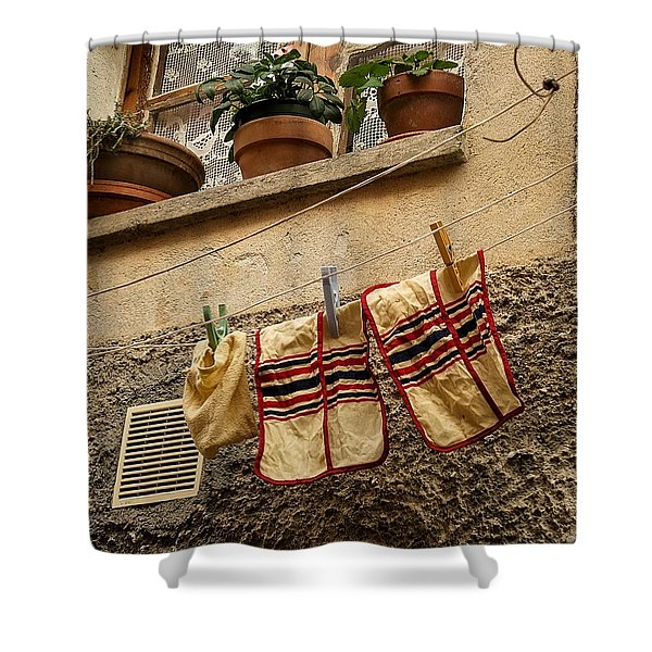 Clothesline In Biot Shower Curtain