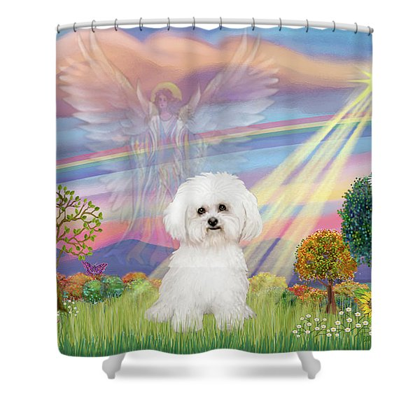 Cloud Angel And Bichon Frise Shower Curtain