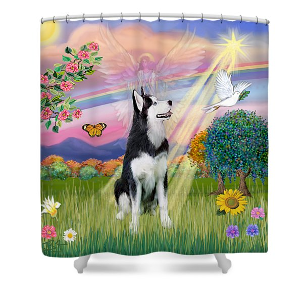 Cloudangel #1 - Siberian Husky Shower Curtain