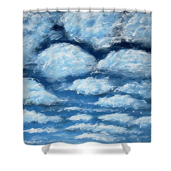 Shower Curtain featuring the painting Clouds by Antonio Romero