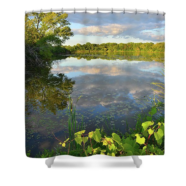 Clouds Mirrored In Snug Harbor Shower Curtain