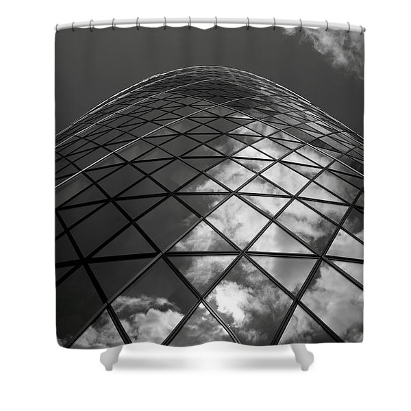 Clouds On The Building Shower Curtain