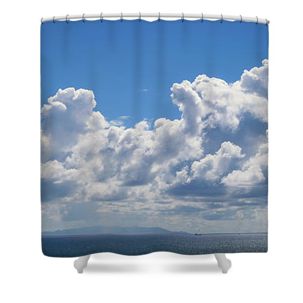 Clouds Over Catalina Island - Panorama Shower Curtain