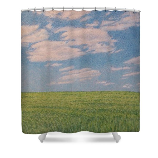 Shower Curtain featuring the drawing Clouds Over Green Field by Cris Fulton