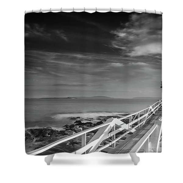 Clouds Over Marshall Point Lighthouse In Maine Shower Curtain