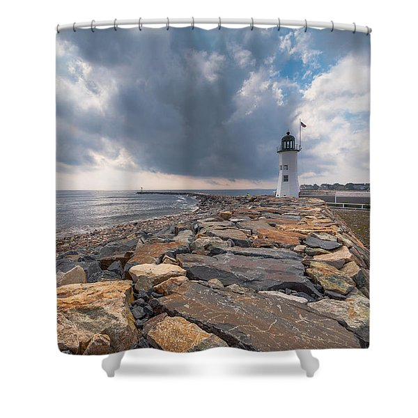 Clouds Over Old Scituate Light Shower Curtain
