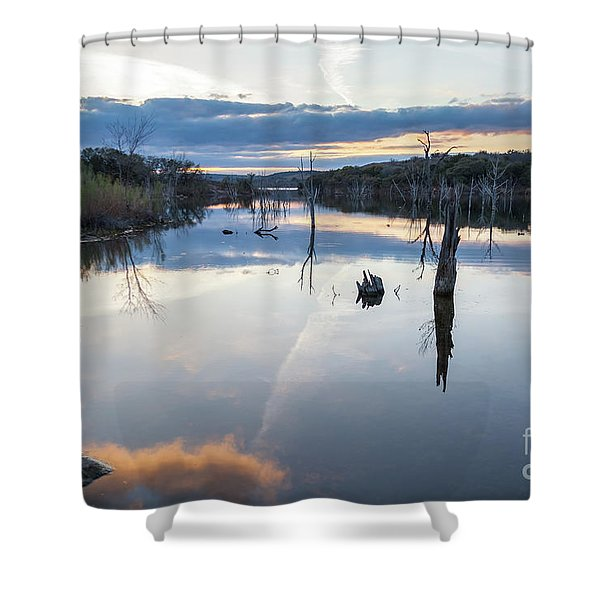 Clouds Reflecting On Large Lake During Sunset Shower Curtain