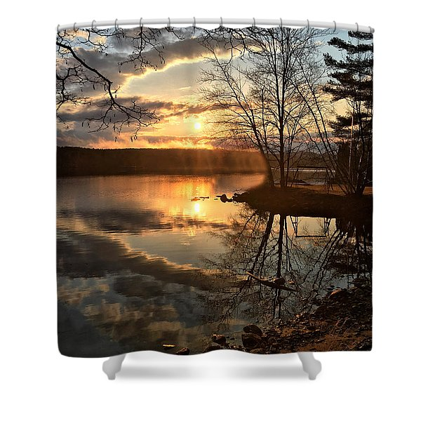 Clouds, Reflection And Sunset  Shower Curtain