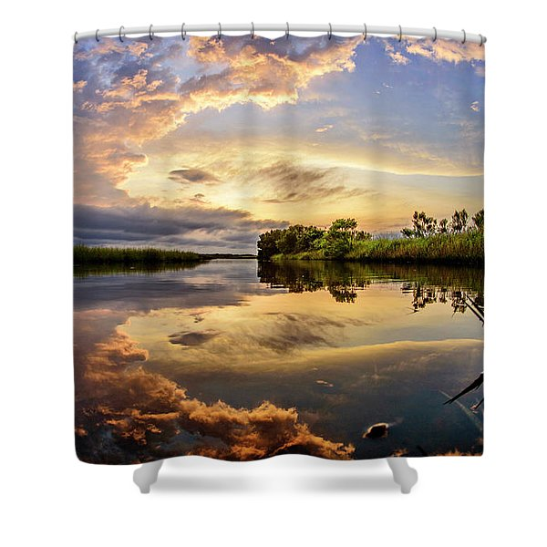 Clouds Reflections Shower Curtain