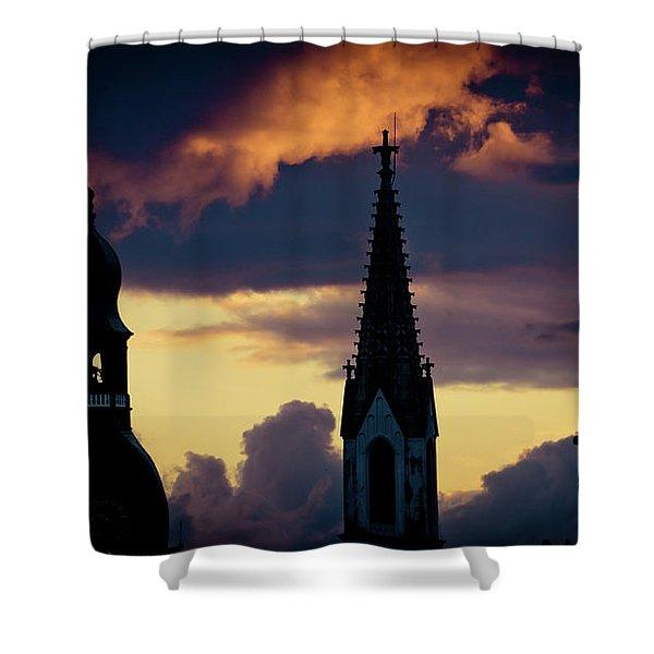 Shower Curtain featuring the photograph Cloudscape Of Orange Sunset Artmif.lv Riga Latvia by Raimond Klavins