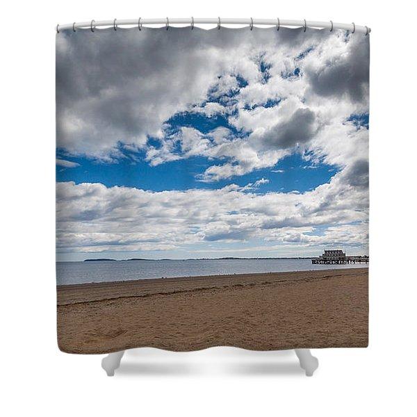 Cloudy Beach Day Shower Curtain