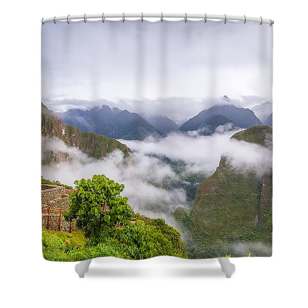 Cloudy Mountains. Shower Curtain