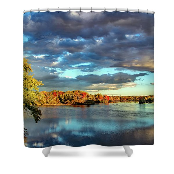 Cloudy Skies Over The Stillwater River Shower Curtain