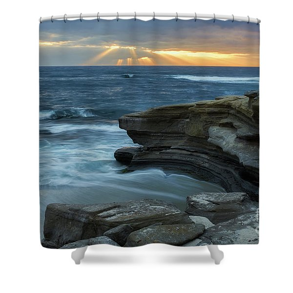 Cloudy Sunset At La Jolla Shores Beach Shower Curtain