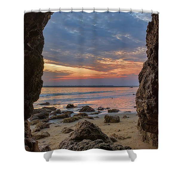 Cloudy Sunset At Low Tide Shower Curtain