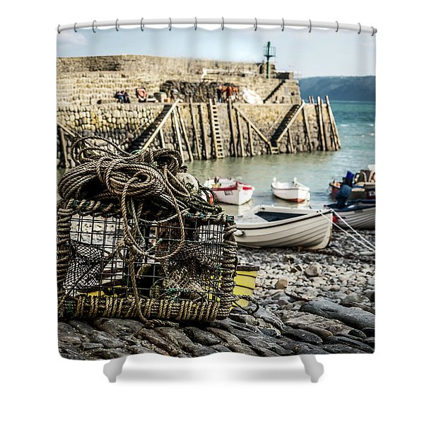 Shower Curtain featuring the photograph Clovelly Crab Trap by Nick Bywater