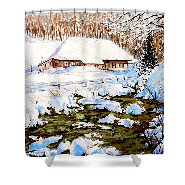 Clubhouse In Winter Shower Curtain