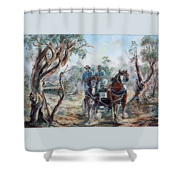 Clydesdales And Cart Shower Curtain